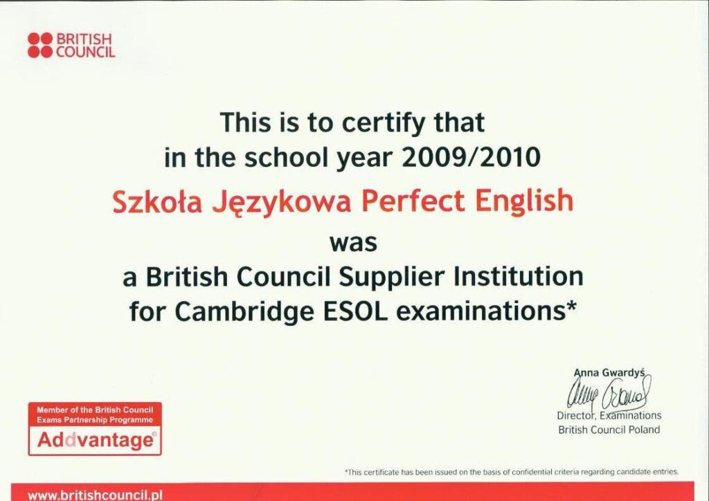 Certyfikat British Council dla Perfect English