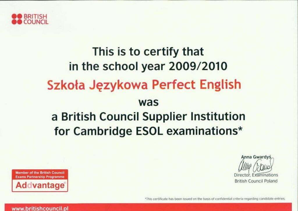 Certyfikat British Council dla Perfect English